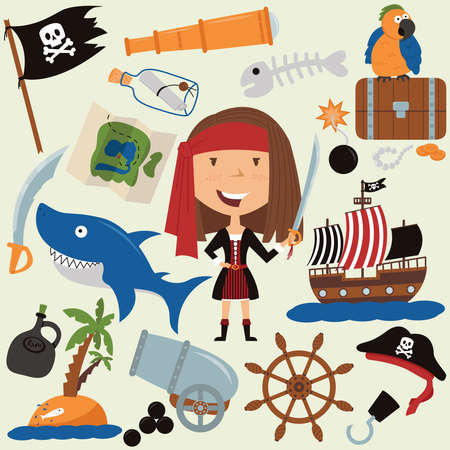 Cute beauty pirate girl and various objects. Icon set with parrots, teen and shark. Adventure theme collection.  Illustration