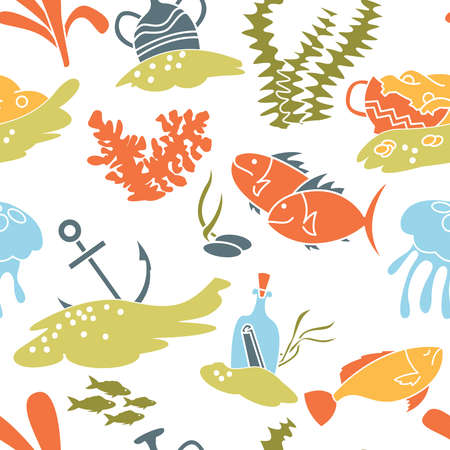Underwater hidden treasures seamless pattern. Vector wallpaper with fishers, jellyfishes and old vases with gold.