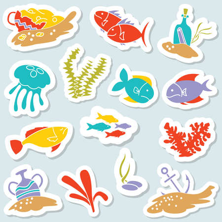 Sticker set with underwater hidden treasures. Vector icons collection with fishers, jellyfishes and old vases with gold.  Illustration
