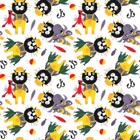 문어, 물고기, 및 랍스터 원활한 패턴으로 어 부. 큰 캐치 벡터 벽지와 선원 애완 동물입니다. 멋진 만화 동물 플랫 스타일 배경입니다.
