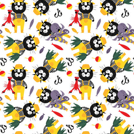 Ð¡at fisherman with octopus, fishes,  and lobster seamless pattern. Sailor pet with big catch vector wallpaper. Cool cartoon animals flat style background.