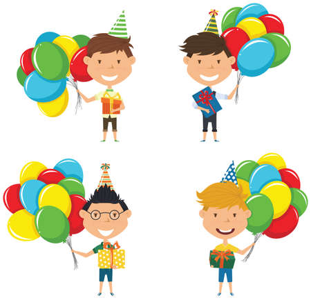 Happy boys carrying colorful wrapped gift boxes and bright balloons. Happy Birthday celebration. Flat style vector illustration for greeting card and posters. Cute kids with presents for friend. Illustration