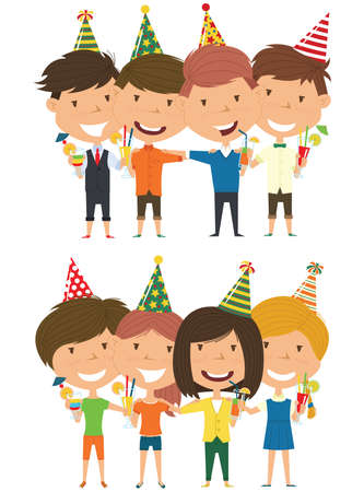 Cute boys and girls hugging and holding non-alcoholic beverage. Happy Birthday celebration. Flat style vector illustration for greeting card and posters. Cute kids with presents for friend.