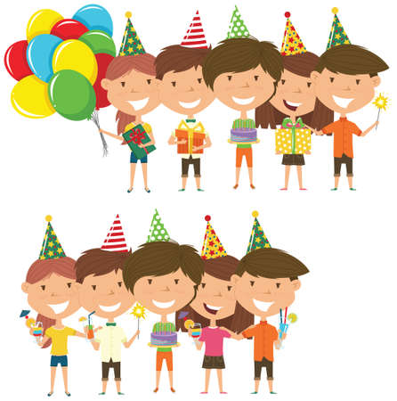 Beauty young boys and girls hugging and holding colorful wrapped gift boxes, bright balloons, cocktails and fireworks. Happy Birthday celebration. Flat style vector illustration for greeting card and posters.  Illustration