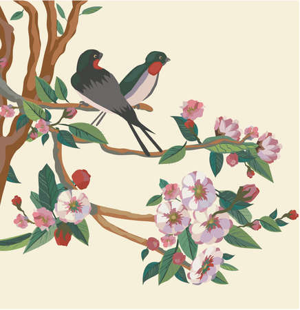 Spring  All wakes up, flowers sakura blossom love swallows  Illustration