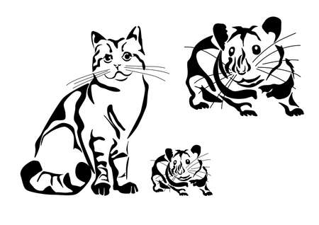 wild cat: Cat and Mouse tattoo   Illustration