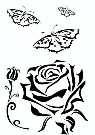 rose stem: Rose   icons  tattoo