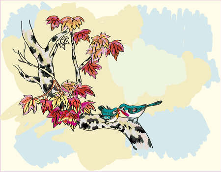 traditionally chinese:  sakura ,bird , spring , postcard