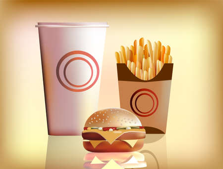 burger, fries and cola Stock Vector - 15589501