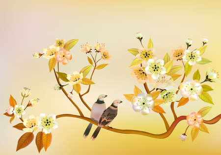 sakura bird  postcard Vector