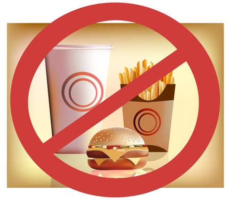 alfalfa: fastfood --- harm for health  Illustration