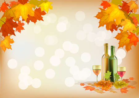 facer: Autumn , postcard .Ripe grapes, wine glass and bottle wine .