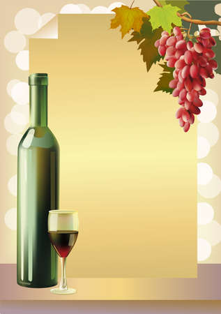 Ripe grapes, wine glass and bottle wine .