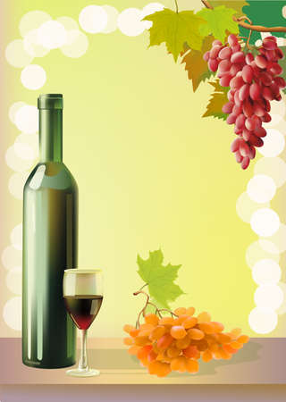 Ripe grapes, wine glass and bottle wine . Stock Vector - 15932026