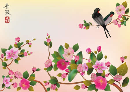 spring in japan: sakura ,bird , spring , postcard