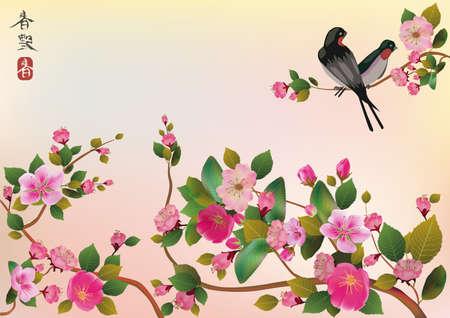 sakura, vogel, voorjaar, postkaart Vector Illustratie