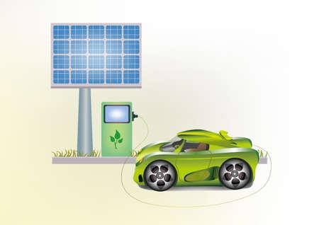 energy conservation:  Ecology car , solar panels   Illustration