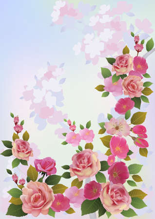 Roses   Spring bouquet of flowers    Stock Vector - 16899062