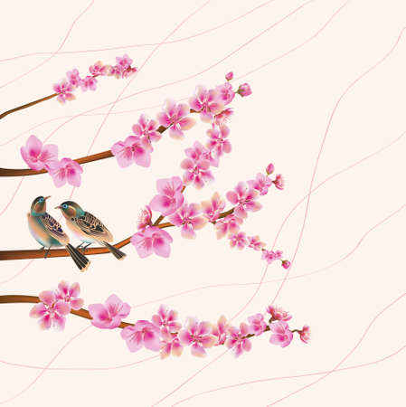 sakura ,bird , spring , postcard   Stock Vector - 17581243