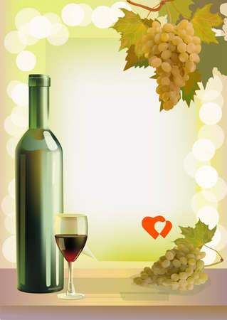 Holiday  wine  grapes  Valentine s Day  Illustration