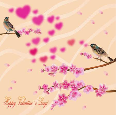 beck: love birds, sakura, spring, Valentine s Day