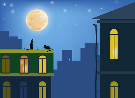 Cats in the moonlight on the roofs of the city Vector