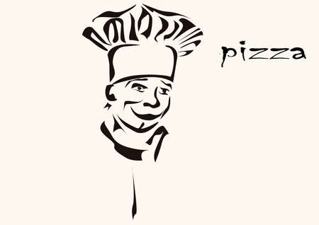 Cook pizza  illustration isolated  Menu