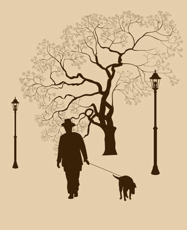 Loneliness, a walk in the park man with a dog Vector