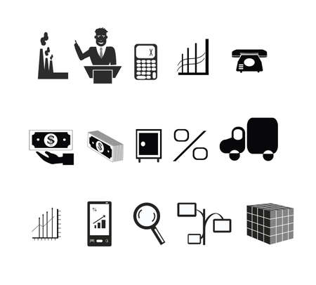 icons on the topic of production Illustration