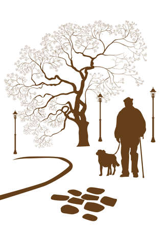 man shadow: Loneliness, a walk in the park man with a dog