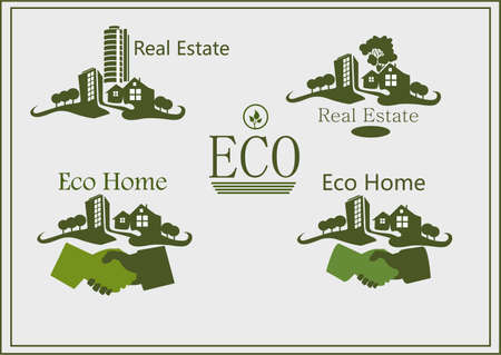 Real estate logo , eco home   Vector