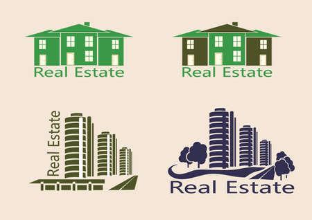 logotipo de construccion: Bienes ra�ces, iconos Vectores