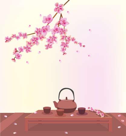 Sakura   Tea ceremony Menu   Coffee    Illustration
