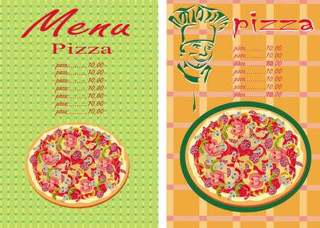 italian sausage: Pizza, menu , restaurant   Illustration