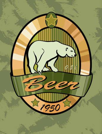 beer label design , polar bear    Vector