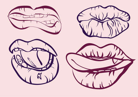 illustration mouths with lips