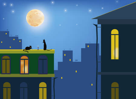 Cats  Сats in the moonlight on the roofs of the city  Vector