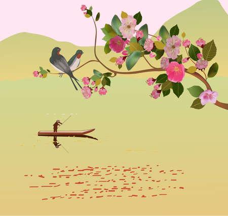 Sakura ,bird , spring , postcard Stock Vector - 21796636