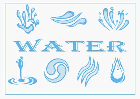 oscillation: Conjunto del icono del agua ilustraci�n vectorial