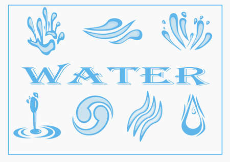 Water Icon Set  Vector Illustration
