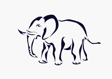 big figure: Elephant , icon ,tattoo