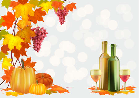 Autumn , postcard  Ripe grapes, wine glass and bottle wine Stock Vector - 22003844