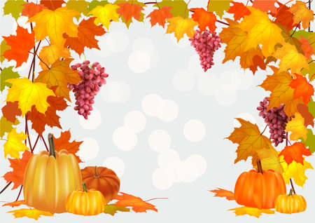 Autumn pumpkin holiday, postcard ,grapes Stock Vector - 22003853