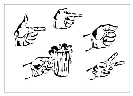 Vector set of hands and gestures, the hand with a glass of beer  Stock Vector - 23120526