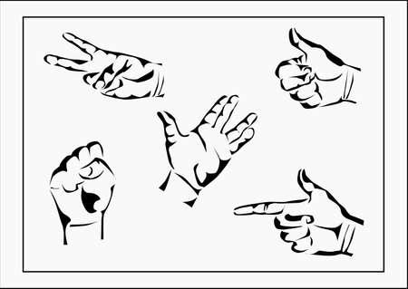 Vector set of hands and gestures Stock Vector - 24053512