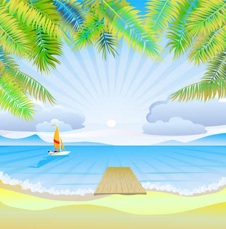 tropical beach panoramic: Travel   The sea, yachts, palm trees Furlough