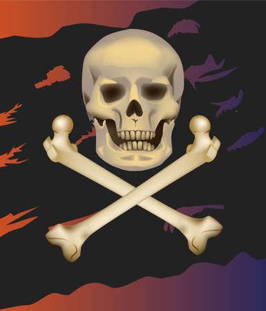 jolly roger: Jolly Roger  Skull and crossbones   Illustration