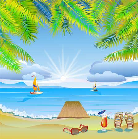 旅行、海、ヨット、ヤシの木の休暇  イラスト・ベクター素材
