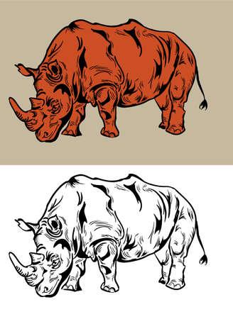 Rhino drawing Vector  Vector