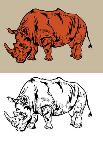 largest:  Rhino drawing Vector  Illustration